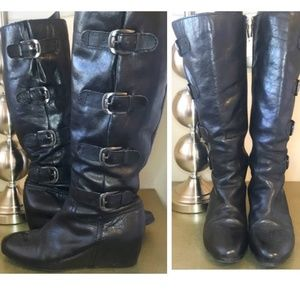 Franco Sarto Black Leather Wedge Buckle Boots